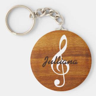 note musicale faite sur commande sur le bois porte-clé rond