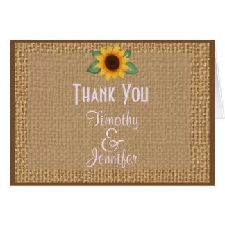Note personnalisée de Merci de tournesol de toile Carte De Vœux