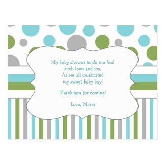 Note w/poem 3471 de Merci de baby shower de vert Carte Postale