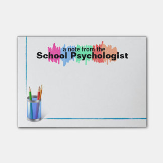 Notes collantes de psychologue coloré d'école post-it®