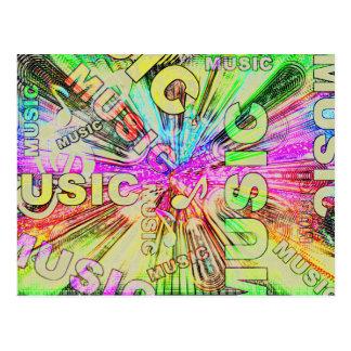 Notes colorées de musique carte postale