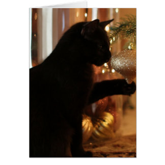 Notes de chaton de Noël, chat noir/ornement d'or