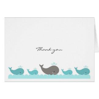 Notes de Merci de baleines grises de bleu de Carte De Correspondance