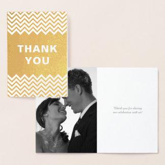 Notes de Merci de mariage de feuille d'or de Foil Card