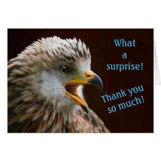Notes de Merci pour la surprise, photo étonnée