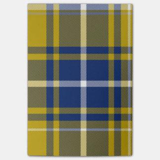 Notes de post-it jaunes bleues de plaid