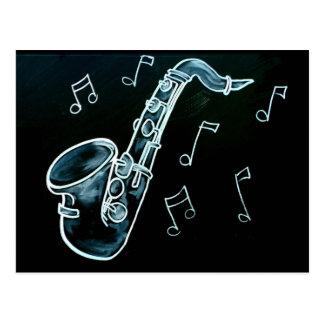 Notes de saxophone et de musique carte postale