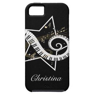 Notes d'or personnalisées d'étoile musicale coques iPhone 5