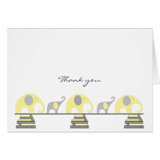 Notes jaunes et grises de Merci d'éléphant de baby Carte De Correspondance