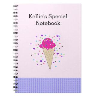 Notes roses de crème glacée de confettis carnet