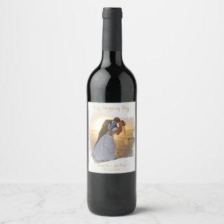 Notre jour du mariage - blanc - photo de étiquette pour bouteilles de vin