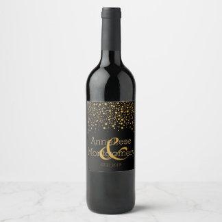 Notre jour du mariage - points de confettis d'or - étiquette pour bouteilles de vin