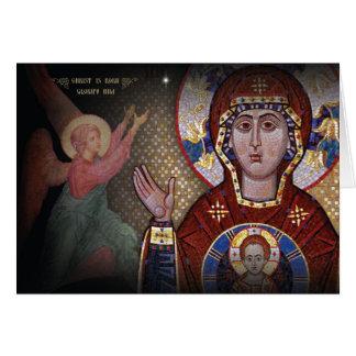 Notre Madame de la carte de Noël orthodoxe de