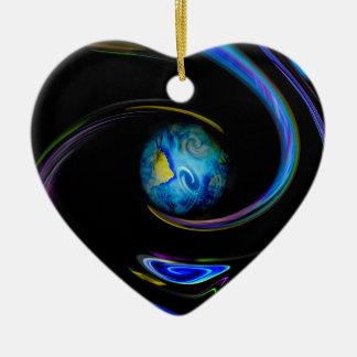 Notre planète bleue ornement cœur en céramique