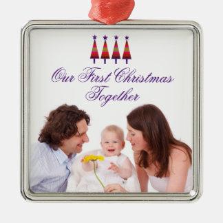 Notre premier de Noël ornement de photo de famille