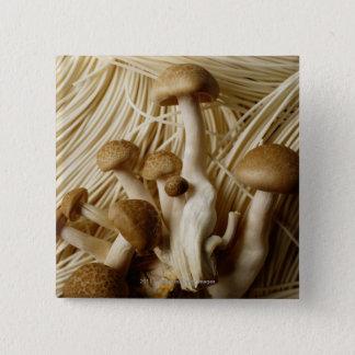 Nouilles et champignons chinois badge carré 5 cm