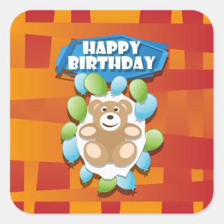 Nounours de joyeux anniversaire d'illustration sticker carré