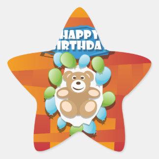 Nounours de joyeux anniversaire d'illustration sticker étoile