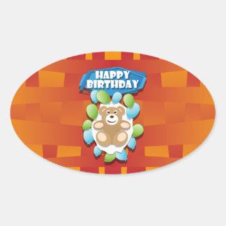 Nounours de joyeux anniversaire d'illustration sticker ovale