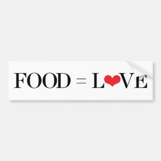 Nourriture = amour autocollant de voiture