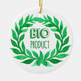 Nourriture fraîche de bio de produit de vert ferme ornement rond en céramique