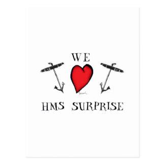 nous aimons la surprise de hms, fernandes élégants carte postale