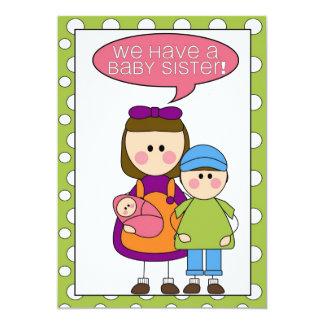 nous avons une soeur de bébé ! annoucement carton d'invitation  12,7 cm x 17,78 cm