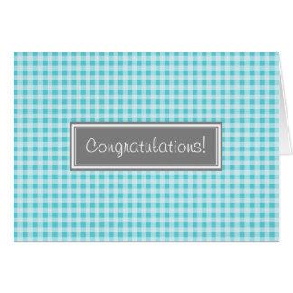 Nouveau bébé de félicitations bleues de guingan carte de vœux