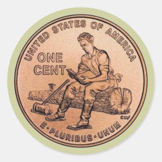 Nouveau penny 1 sticker rond