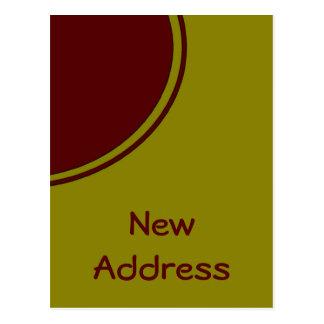 Nouvelle adresse de cercle rouge jaune carte postale