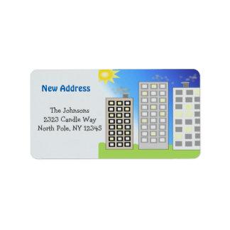 Nouvelle adresse d'édifices hauts étiquette d'adresse