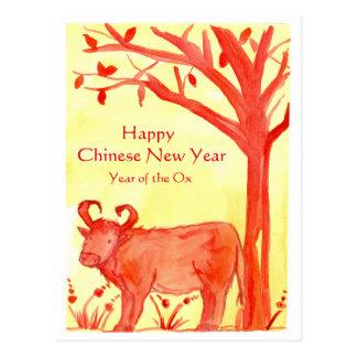 Nouvelle année chinoise heureuse de l'aquarelle de carte postale