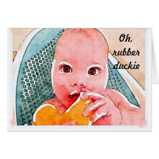 Nouvelle carte de bébé - Duckie en caoutchouc