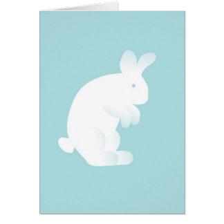 Nouvelle carte de voeux de bébé de lapin bleu