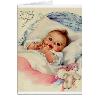 Nouvelle carte de voeux vintage de bébé
