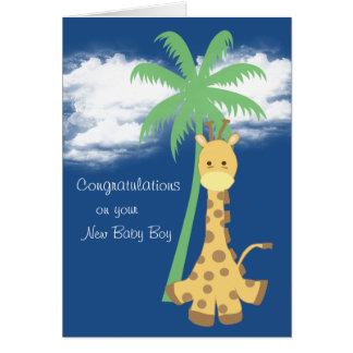 Nouvelle girafe de bleu de félicitations de bébé carte de vœux