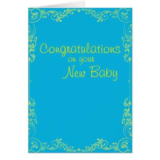 Nouvelles félicitations bleu de bébé et jaune carte de vœux
