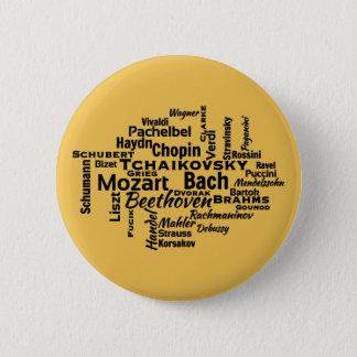 Nuage classique de mot de compositeurs badge rond 5 cm