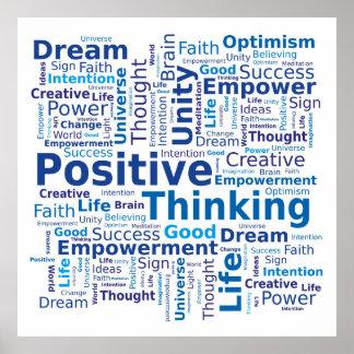 Nuage de pensée positif de mot - bleu
