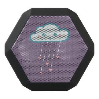 Nuage de pluie bleu heureux pleuvant les coeurs haut-parleurs noirs sans-fils