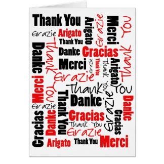 Nuage noir et rouge de mot de Merci Carte De Vœux