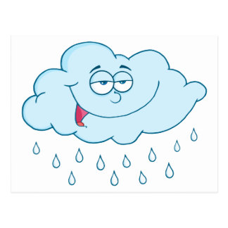 Nuage pleuvant le personnage de dessin animé de cartes postales