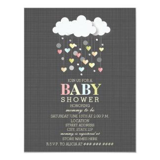 Nuages + Baby shower de neutre de coeurs Carton D'invitation 10,79 Cm X 13,97 Cm