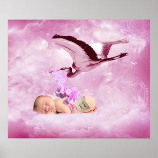 Nuages de bébé et affiche roses de chambre à