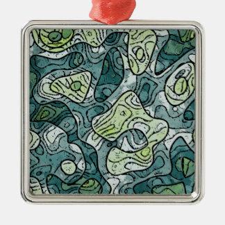 Nuances abstraites de vert ornement carré argenté