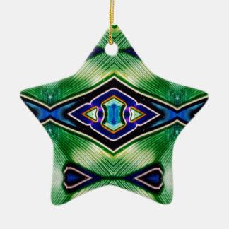 Nuances assez riches de lavande vert-bleu ornement étoile en céramique
