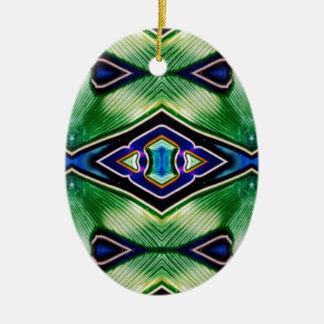 Nuances assez riches de lavande vert-bleu ornement ovale en céramique