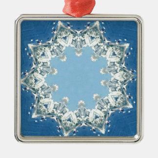 nuances circulaires savoureuses de bleu ornement carré argenté
