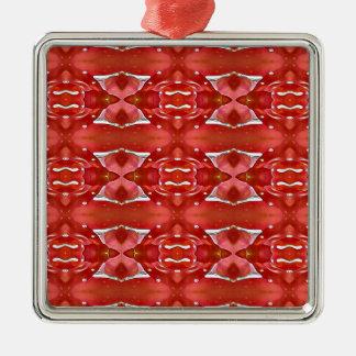 Nuances de conception de fête moderne rouge ornement carré argenté