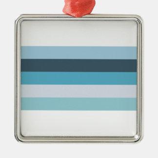 Nuances d'été de bleu ornement carré argenté